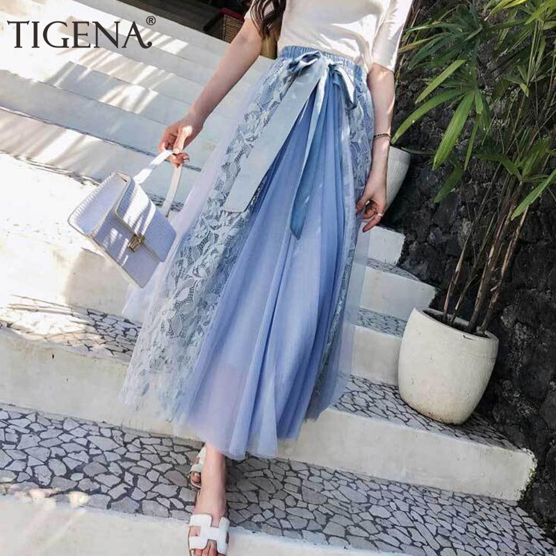 TIGENA Elegant Lace Tulle Long Skirts Women 2019 High Waist Pleated Maxi Skirt Female With Bow School Skirt Black Pink Blue