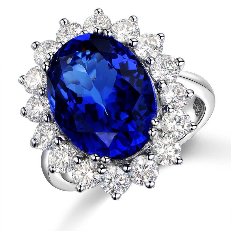 Обручальное кольцо принцессы Diana Kate, открытое регулируемое кольцо из натурального Королевского синего камня, ювелирные изделия с покрытием...