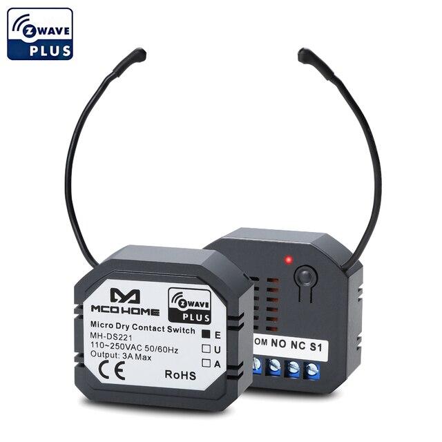 스마트 홈 Z 웨이브 플러스 마이크로 드라이 접점 스위치 Mcohome MH DS221 EU 868.4 자동 도어 워터 밸브 전기 밸브 용