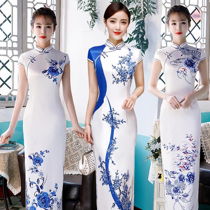 White Vintage Chinese Style Print Flower Qipao Long Handmade Button Cheongsam Dress Women's Mandarin Collar Traditional Dress