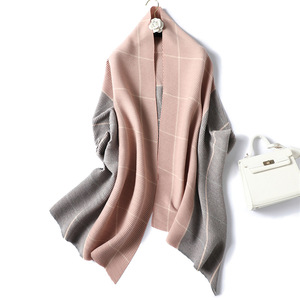 Image 1 - Lady Winter Cashmere Scarf for Women Plaid Solid Pashmina Scarves Crinkle Thick Wool Knit Unisex Neck Scarfs Stole