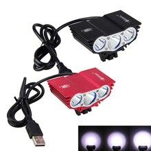 방수 3XT6 LED 자전거 라이트 전면 자전거 헤드 라이트 야간 사이클링 램프 5V USB 전조등 전용 램프 배터리 없음
