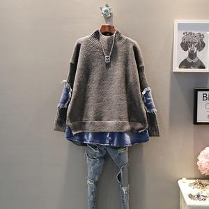 Image 2 - EWQ 2020 אביב סתיו באיכות גבוהה גולף צווארון ארוך שרוול מזויף שתי חתיכה ינס Knittng Streetwear סוודר נשים AH502
