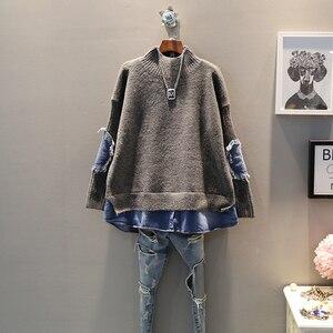 Image 2 - EWQ pull de haute qualité à col roulé pour femmes, faux deux pièces à manches longues, tricot Denim tricoté Streetwear AH502, printemps automne 2020