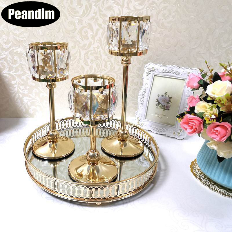 PEANDIM Wedding Gold Candle Holders Table Centerpieces Candelabra Party Candlesticks Decoration K9 Crystal Candle Lantern(China)