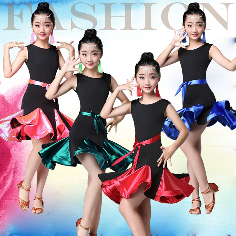 Flower Girls Ruffle Ballroom Latin Dance Wear Dress Competition Girl Kid Child Salsa Tango Cha Cha Performance Practice Skirt