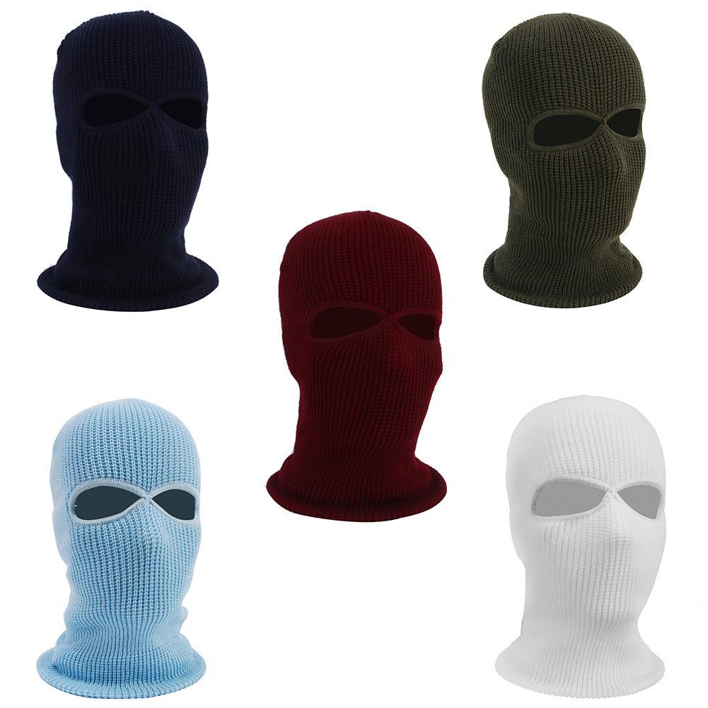 Ветрозащитная велосипедная маска для лица, Зимняя Теплая Лыжная велосипедная маска с 2 отверстиями, Полнолицевая маска для 40-62 см, окружност...