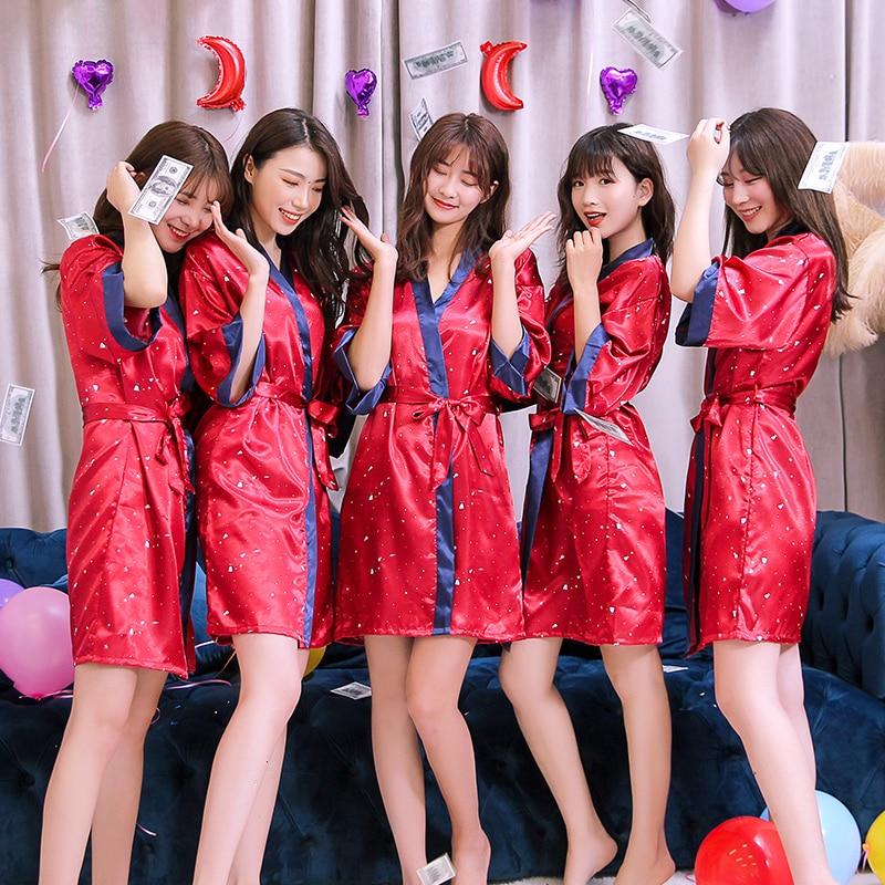 Short Bridesmaid Dresses Bride Robes 2020 3/4 Long Sleeves V Neck Red Pink Women Night-Grown Nightdress Bath Robe