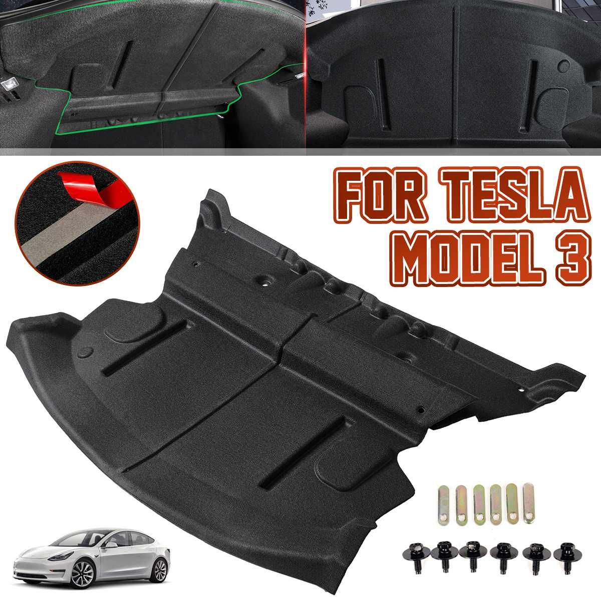 2X Car Rear Trunk Soundproof Cotton Mat Sound Proof Deadening Protective Cover Sticker For Tesla Model 3 2017 2018 2019 2020