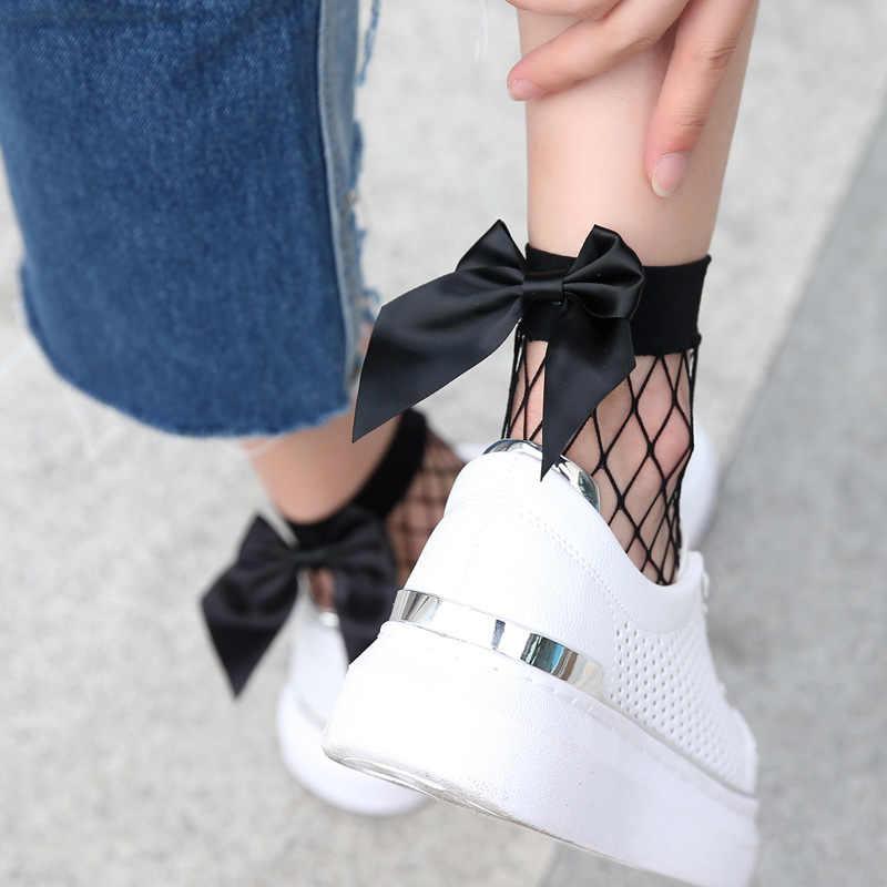 Kadın Fishnet ayak bileği çorap fırfır papyon örgü dantel balık ağı kısa çorap moda Skarpety Streetwear