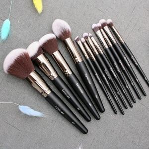 Image 1 - Sywinasสีดำชุดแปรงแต่งหน้า12PcsคุณภาพสูงSynthetic Hair Contour Eyeashadow Make Upชุดแปรง