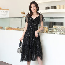 2020 Summer Wear Black and White with Pattern Small Evening Dress Large Size Mesh Dress Slimming Fat mm Cover Meat Long Skirts P(China)
