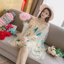 Spring and summer new style New embroidered mesh dress Sexy word collar bat sleeve
