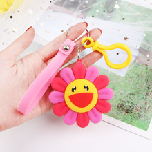 2019  Cartoon Color Sunflower Key chain Silicone Smiley Face Picture Keychains Women Bag Car Cute keyring childrens Toys Gift