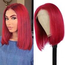 BOB Wigs Human-Hair-Wigs Lace Closure Brazilian-Hair Burgundy Short Black Colored Straight