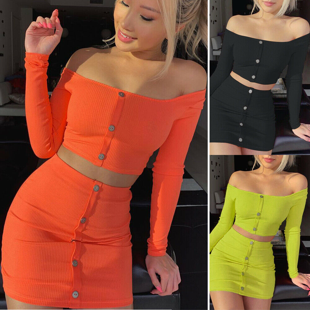 2020 Newest Summer Womens Knitted Outfits Set Laides off Shoulder Long Sleeve Single Breasted Crop Top Mini Skirt Bodycon Set