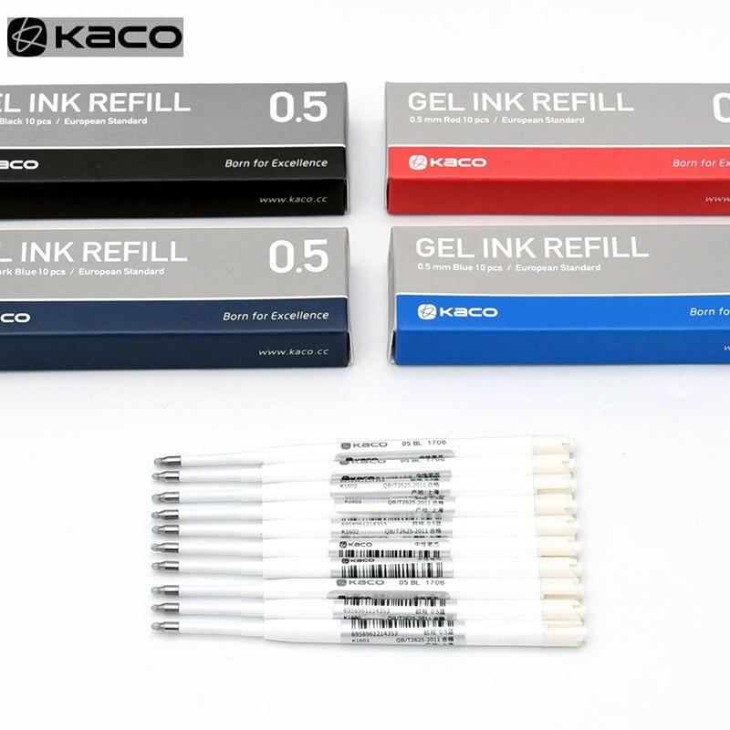 Для Xiaomi металлическая ручка-знак Kaco 0,5 мм EU стержни синий/черный/красный/темно-синий Чернила Европейский стандарт выдвижные гелевые ручки 10 ...