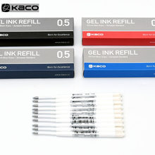 Para xiaomi caneta sinal de metal kaco 0.5mm ue recarga azul/preto/vermelho/azul marinho tinta padrão europeu retrátil gel canetas 10 unidades/pacote