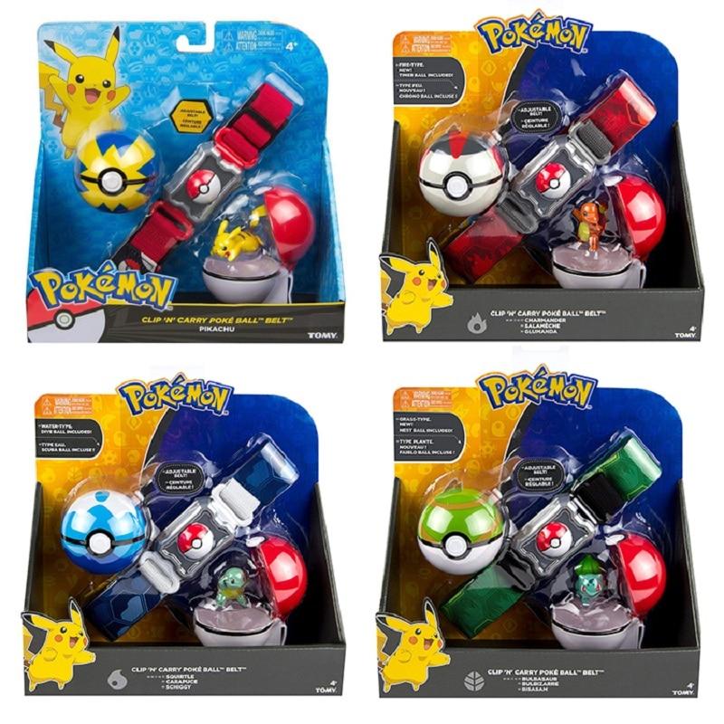 Tomy pokemon clipe levar poke bola cinto pikachu pokeball bolso monstro variante modeltoy conjunto cosplay figura de ação modelo crianças brinquedo