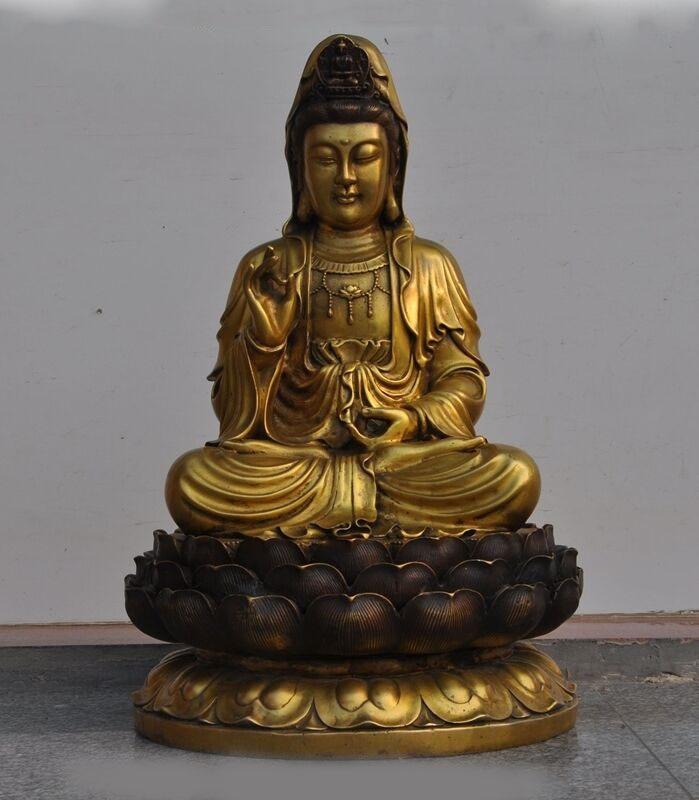 "wedding decoration 18"" China Buddhism Bronze Quan yin Kwan yin Guanyin Bodhisattva Statue Sculpture Statues & Sculptures     - title="