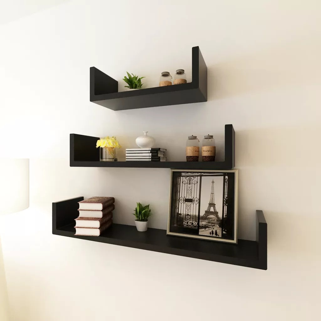 VidaXL 3 Black MDF U-Shaped Floating Wall Display Shelves Book/DVD Storage Suitable For Store Books Collectables Ornaments V3