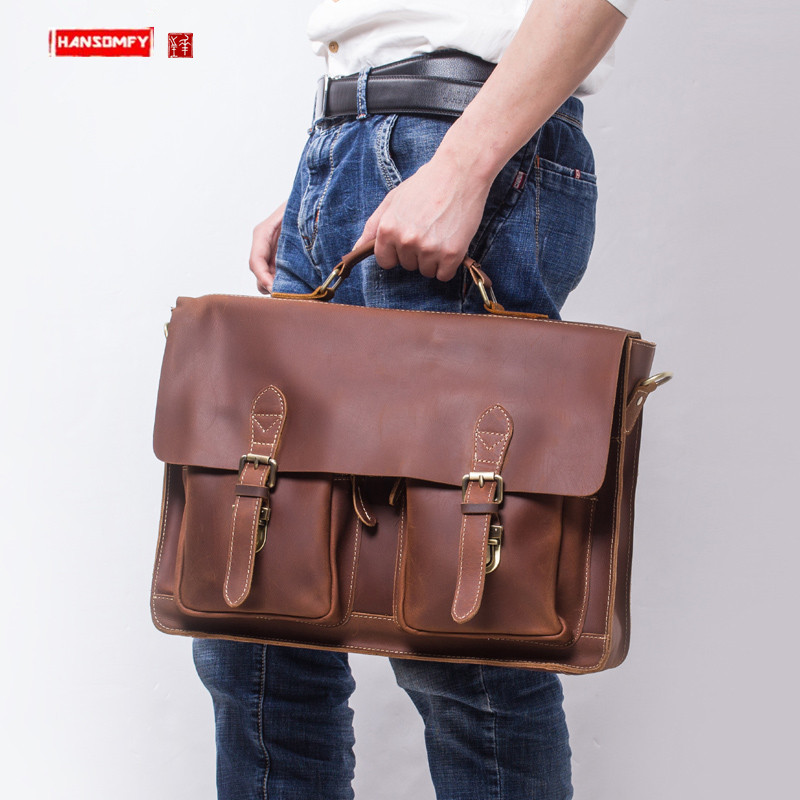 Men's Briefcase Leather Men Business Handbags Portable Simple Shoulder Diagonal Computer Bags Handmade Retro Crazy Horse Leather