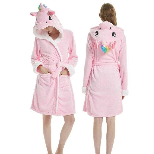 Женский халат панда Единорог взрослые фланелевые банные мужские халаты Ночная рубашка халат кигуруми пижамы пижамные комплекты ночные руб...