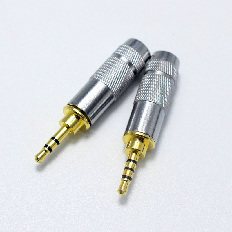 <font><b>2.5mm</b></font> Stereo <font><b>Audio</b></font> <font><b>Jack</b></font> 3 Pole 4 Pole Male Connector Solder for Headphones Speaker Cable Adapter With Metal Shell image
