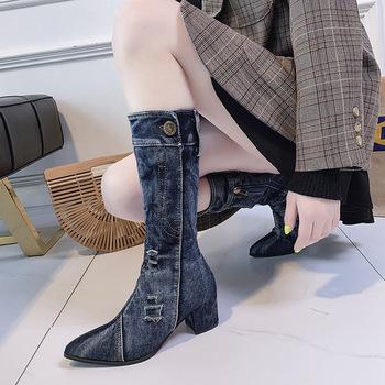 2021 kobiet Denim Boot kobiet do kolan zamek błyskawiczny szpilki kobieta stylowe dżinsy buty damskie buty damskie kowboj tanie i dobre opinie NoEnName_Null Kwadratowy obcas WESTERN Futro CN (pochodzenie) Na wiosnę jesień Brytyjski styl RZYM Stałe Adult SYNTETYCZNE