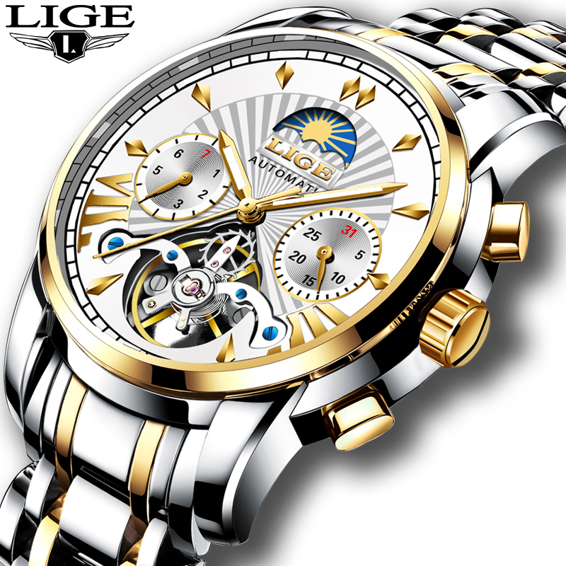 LIGE Hot Men Watches Top brand luxury automatic / mechanical watch men sport wristwatch tourbillon Automatic Date Clock