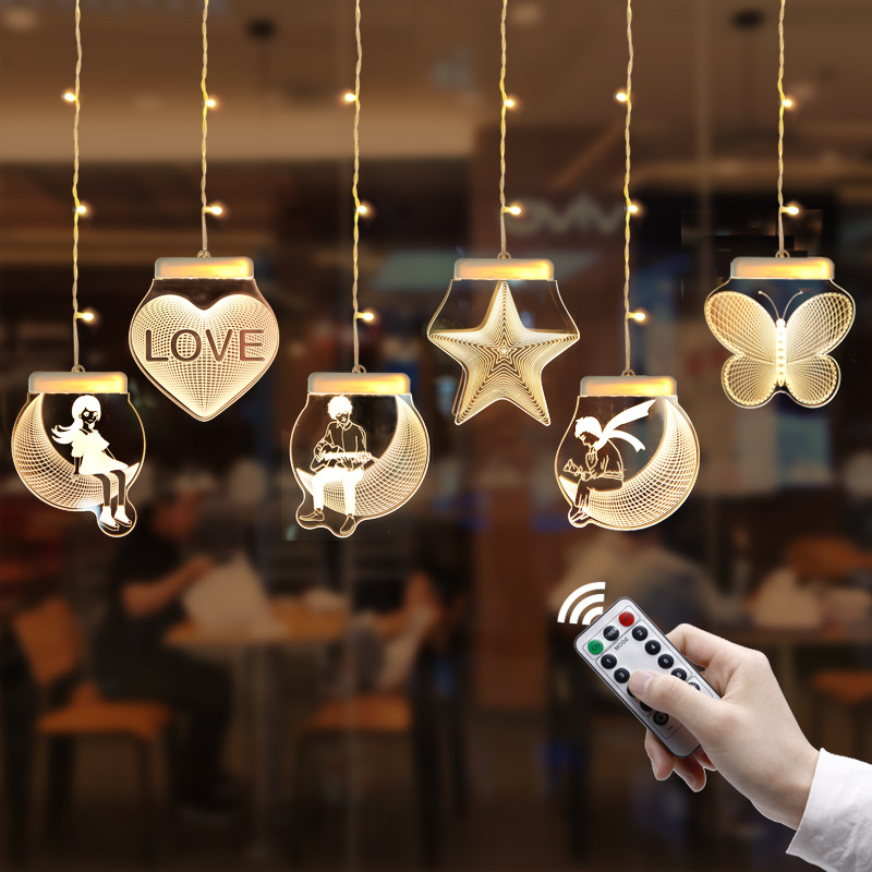 2M*0.7M 3D Romantic Cutrain Lights LED Marriage Confession String Light Hanging Wall Lamp For Christmas Party Wedding Decoration