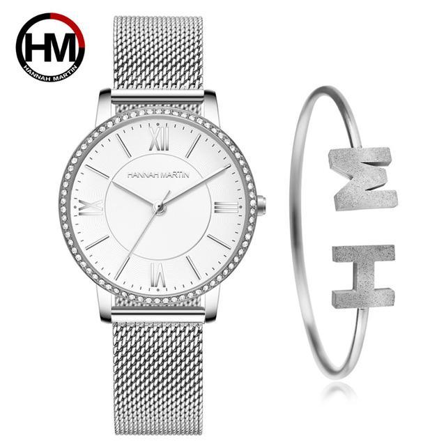 洗練されたエレガントなダイヤモンド高品質超薄型女性ステンレス鋼メッシュ防水女性ドロップシッピング