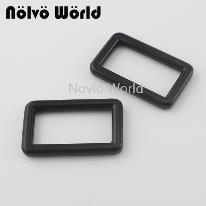 4 Pieces Test,Black Color 31X15.5mm 1-1/4 Inch Solid Casting Rectangular Ring Buckle For Bag Strap,1.2