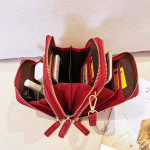 Image 2 - Sac à bandoulière étanche à fermeture éclair pour femmes, sac pour téléphone pochette en cuir synthétique polyuréthane solide, sac pour cartes, portefeuille, rangement de 3 couches pour Sport en plein air