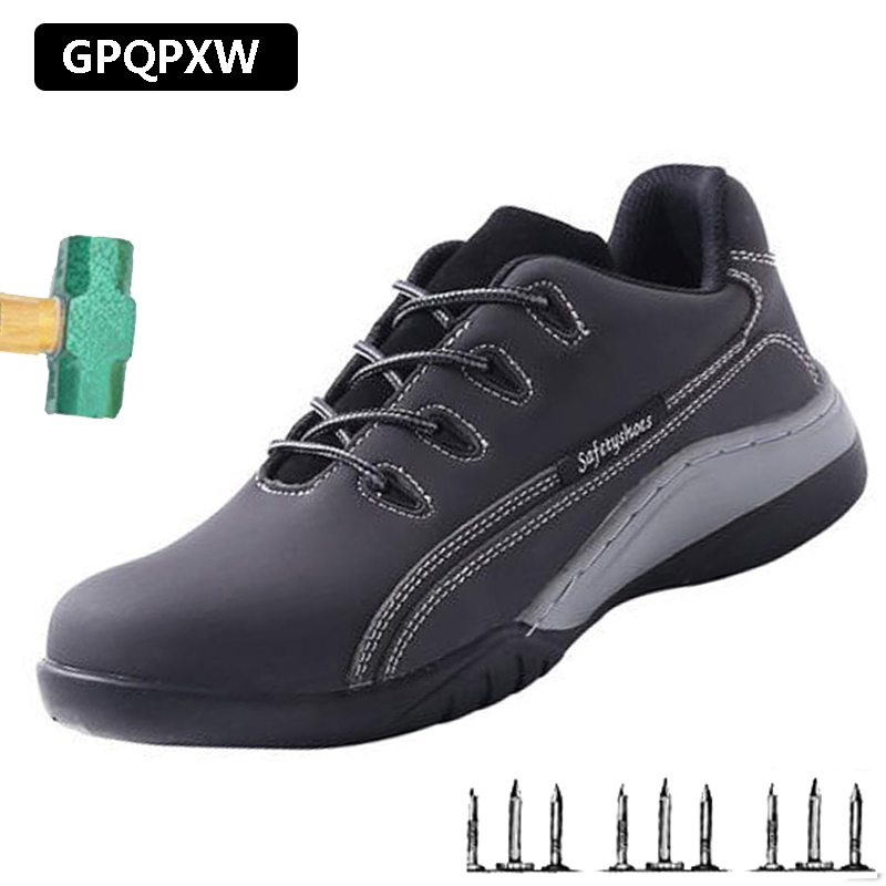 Steel Toe Cap Anti-smashing Anti-slip Lightweight Waterproof Work Boots Summer Non-slip Wear-resistant Labor Insurance Shoes Men image
