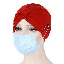 Мусульманские шапки женские тюрбан с пуговицами бандана шарф