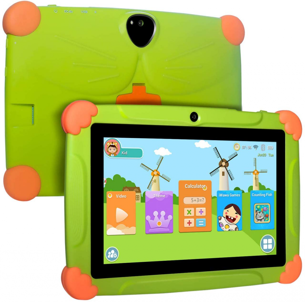 XGODY Tablet For Kids French Android Touch Pad Android 8.1 7inch HD With Silicone Case USB Charge Quad Core 1GB 16GB