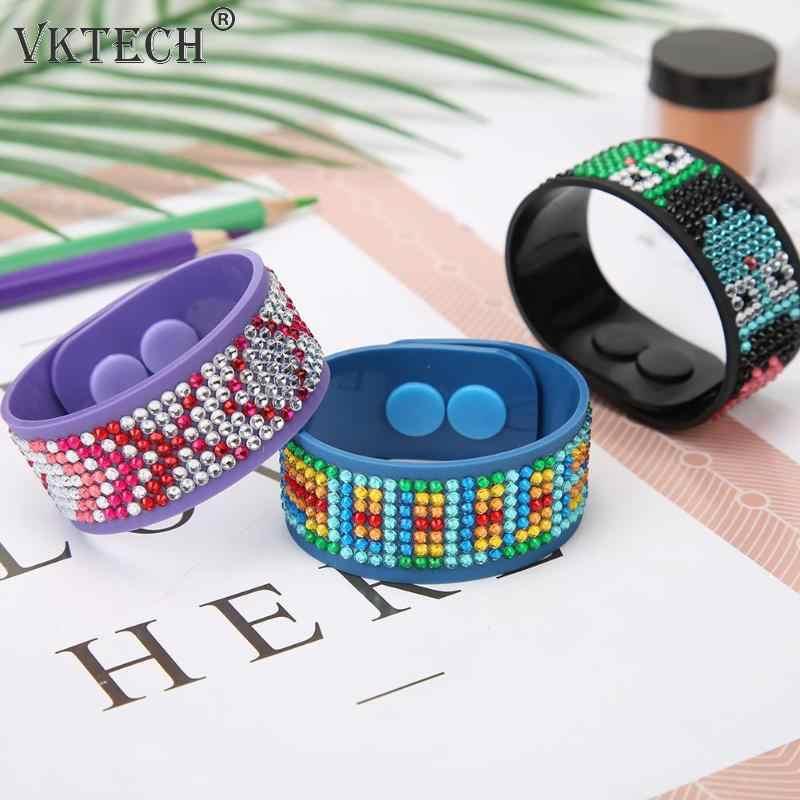 3 Pcs DIY Lukisan Berlian Tali Pergelangan Tangan Penuh Bor Diamond Bordir Watch Band Sabuk Silicone Mainan Anak Pesta hadiah