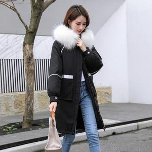 Image 3 - Veste femme hiver chaud, manteau à capuche, col en fourrure, veste brodée, veste femme, épaisse et chaude rembourrée en coton vêtements dextérieur, grande taille, Parka longue