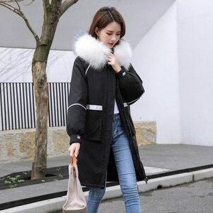 Image 3 - 冬の毛皮の襟フード付きコートの女性刺繍ジャケット女性厚く暖かい綿パッド入りジャケット生き抜くプラスサイズロングパーカーmujer