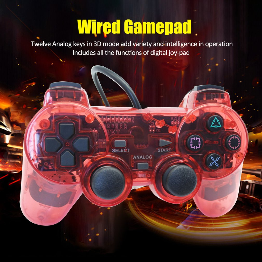 Wired Gamepad for Sony PS2 Controller Joystick for plasystation 2 Double Vibration Shock Joypad Wired Controle image