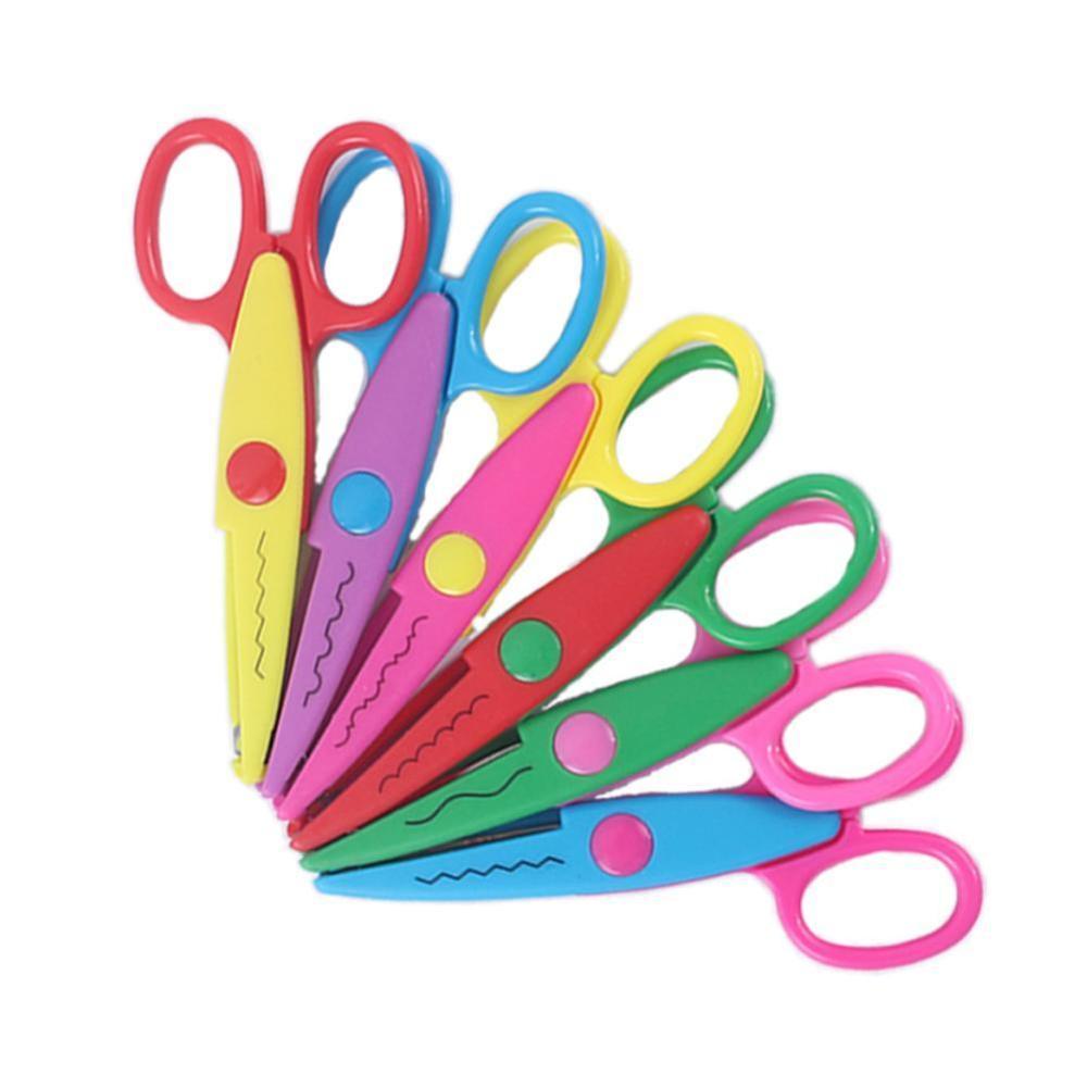 1 Pcs Handmade Children DIY 6 Patterns Album Lace Scissors Card Photo Pattern Scissors Cartoons Lace Scissors