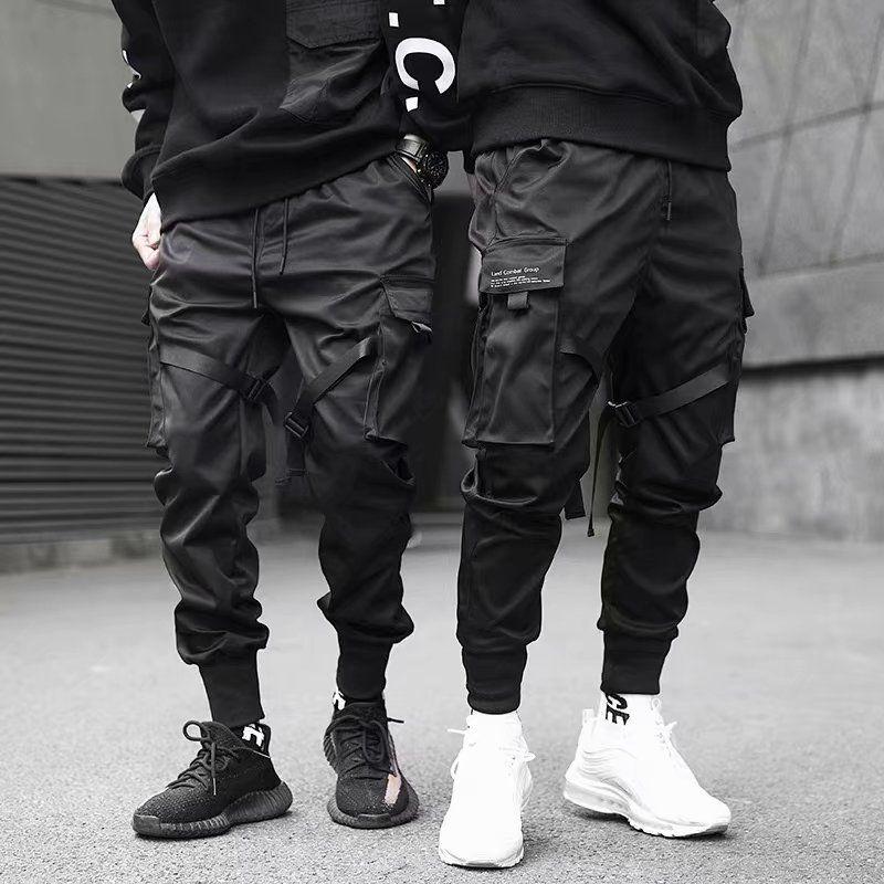 2020 Pockets Cargo Pants Men Color Patchwork Casual Jogger Fashion Tactical Trousers Tide Harajuku Streetwear Joggers  Hip Hop
