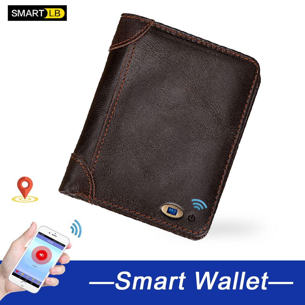 Fathers Day Gifts Smart Men Wallets Anti-lost Genuine Leather Man High Quality Short Wallet Multi-functional Purses Men's Purse