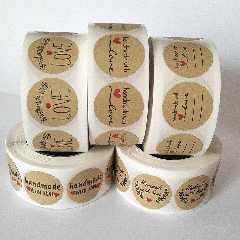 500pcs Reel Cowhide Self-adhesive Hand-baked Decorative Seal Sticker Label Sticker Handmade Decorative Sticker
