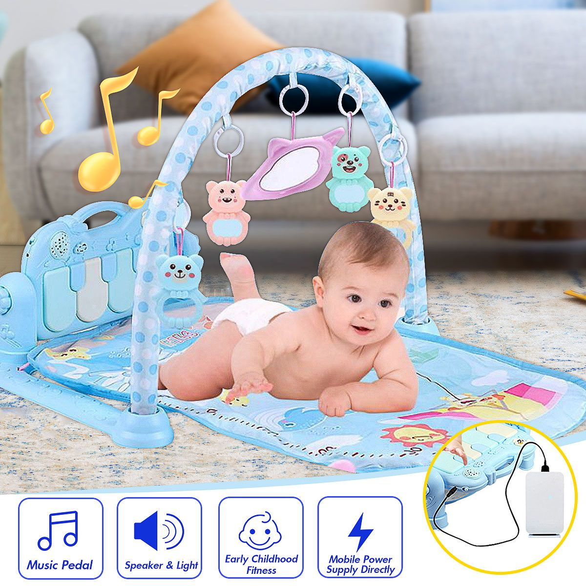 Baby Music Rack Play Mat Kid Rug Puzzle Carpet Piano Keyboard Pedal Infant Develop Early Education Gym Crawling Game Pad Toy