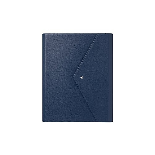 Montblanc / Augmented Paper Sartorial Blue / Set Penna A Sfera Nera, Blocco Note E Custodia In Pelle Blu