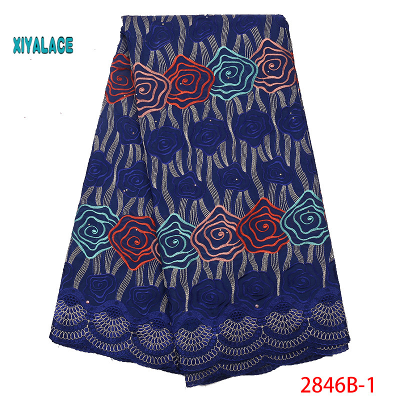 African Lace Fabric Swiss Voile Lace Fabric 2019 High Quality Stones Swiss Voile Lace In Nigerian Fabrics Party Dress YA2846B-1