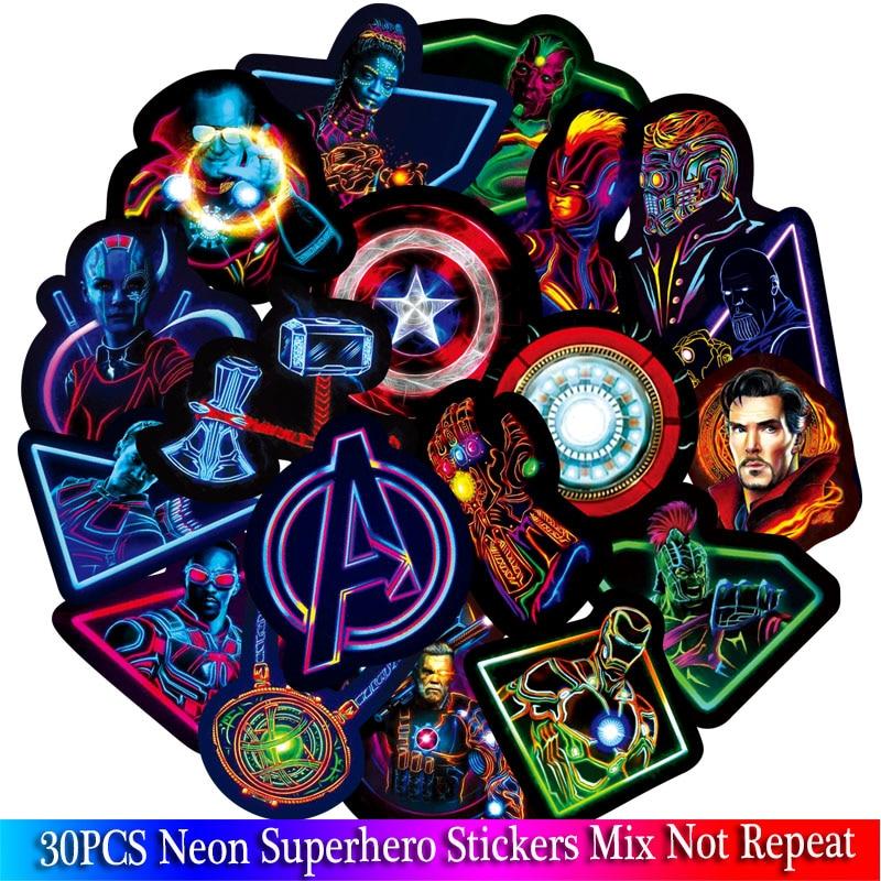 Неоновые наклейки для телефона с супергероями, Мстители, для гитары, багажа, ноутбука, скейтборда, мотоцикла, автомобиля, 30 шт.