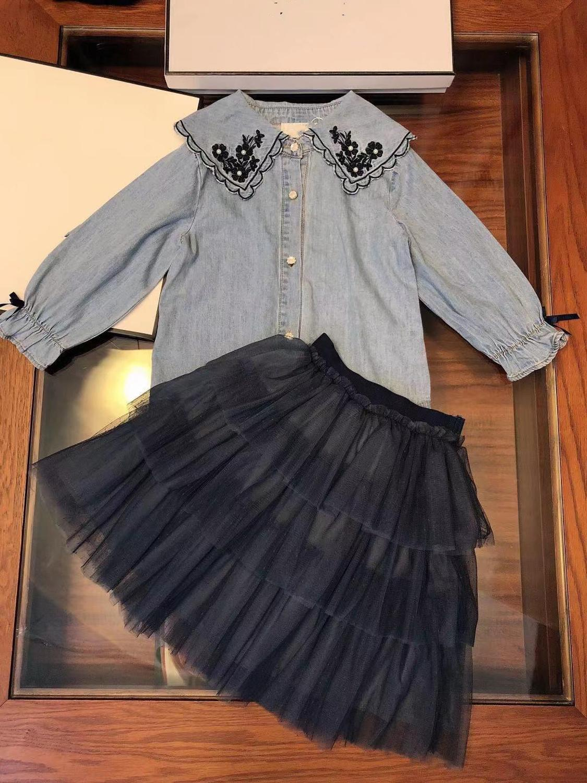 Mode luxe marque nouveau Designer Style Denim manteau TuTu princesse filles robe vêtements ensembles hiver 3-7y